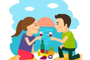 Young couple dining at beach