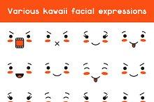 Set of kawaii facial expression.
