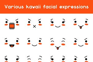Set of kawaii facial expression.