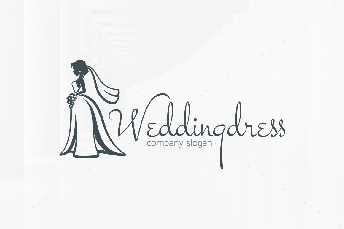 63083c625 Wedding Dress Logo Template ~ Templates ~ Creative Market