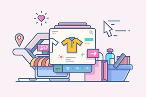Shop online design concept