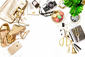 Fashion lady flat lay. Shopping JPG