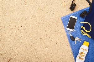 Top view beach hero header