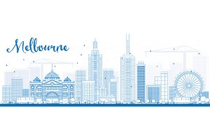 Outline Melbourne Skyline