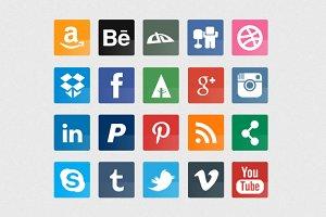 20 Glossy & Flat Social Icons