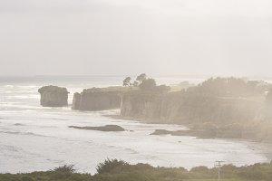 Steep hazy coast