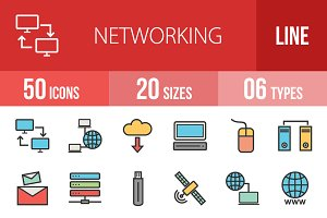 50 Networking Line Filled Icons