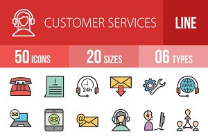 50 Customers Line Filled Icons