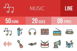 50 Music Line Filled Icons