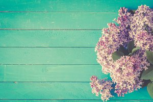 Vintage lilac flowers background