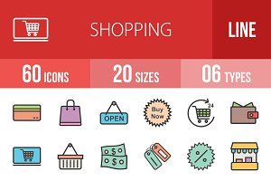 60 Shopping Line Filled Icons