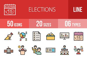 50 Elections Line Filled Icons