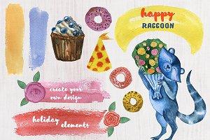 Funny cute raccoon illustration