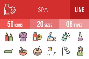 50 Spa Line Filled Icons