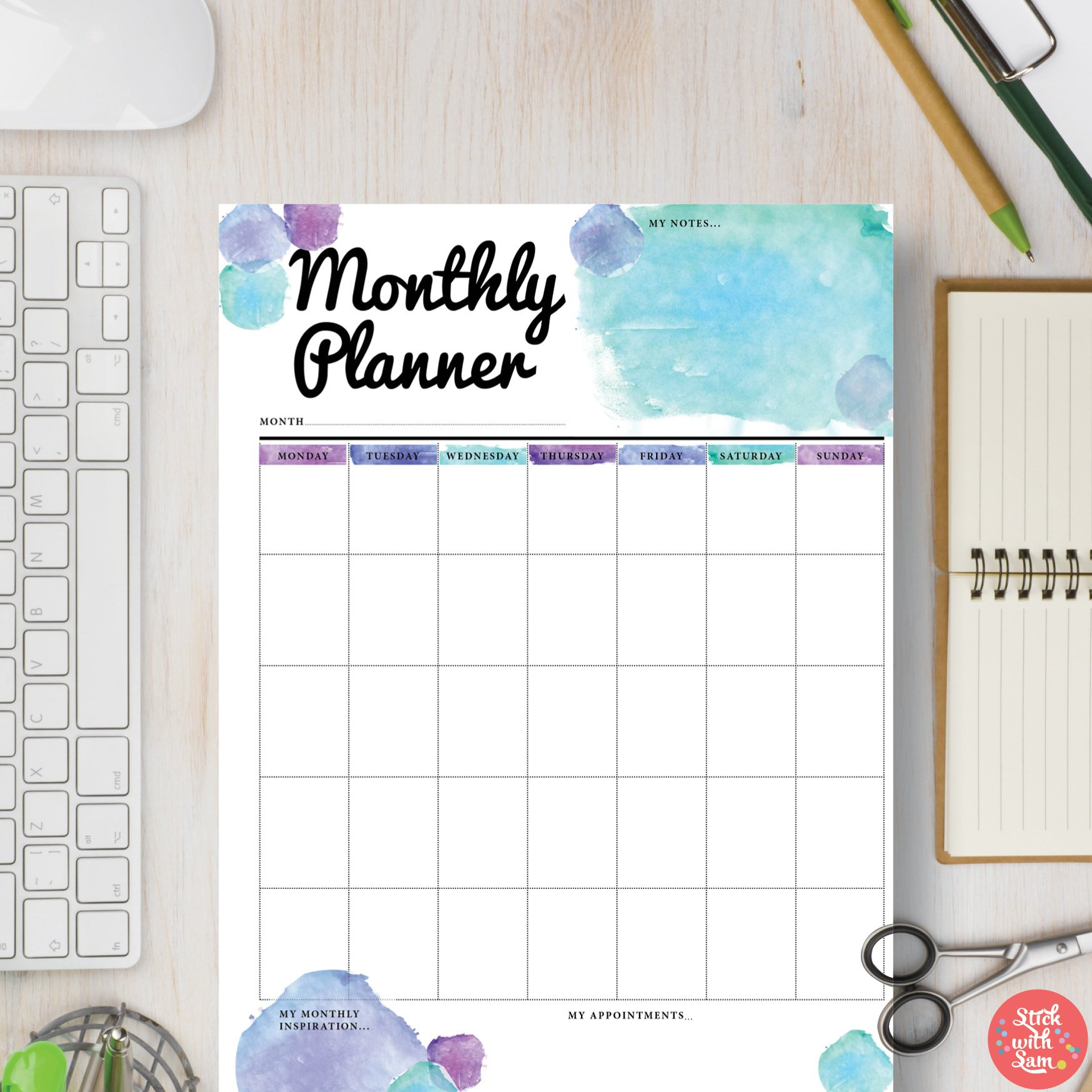 monthly planner a5 a4 stationery templates creative market