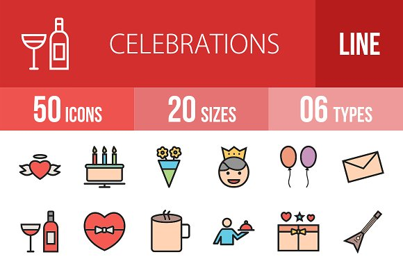 50 Celebrations Line Filled Icons