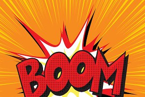Boom explosion comic book text
