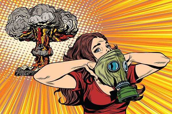 Nuclear explosion gas mask girl