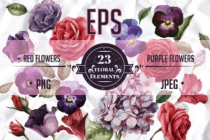 EPS Red & Purple flowers