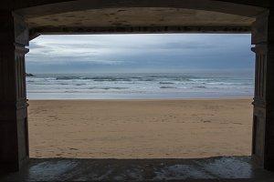 Beach in Zarautz a rainy day
