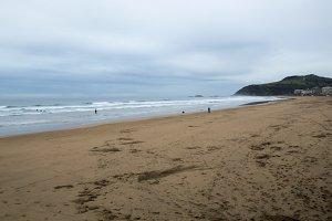 Beach in raining Zarautz