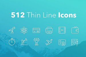 512 Thin Line Icons