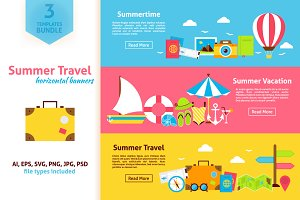 Summer Travel Horizontal Web Banners
