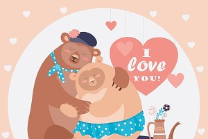 Couple of hugging bears