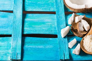 Coconut on bright blue