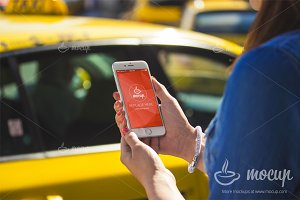 PSD Mockup iPhone 6 Taxi