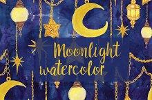 Watercolor moon, stars, lanters