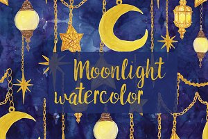 Watercolor moon, stars, lanters
