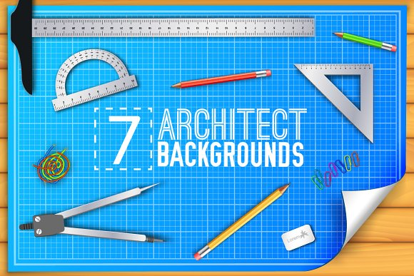 7 blueprint architect backgrounds illustrations creative market 7 blueprint architect backgrounds illustrations malvernweather Image collections