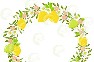 Lemons and Flowers Wreath, 1329