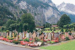 Cemetery in garden, Switzerland
