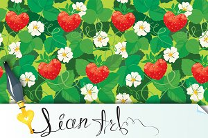 Strawberries in heart shapes - seaml