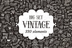 330 Elements Vintage Decorations Set