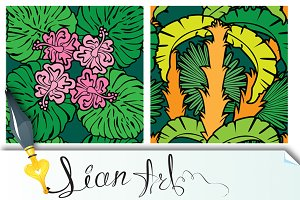 Palm leaves and Frangipani flowers