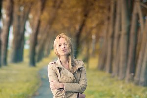 blonde in the autumn park