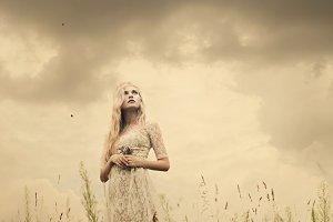 hippie girl in the field
