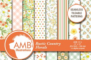Rustic Country Floral Papers, 1316