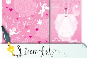 Wedding invitation card and seamless