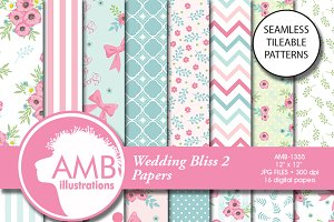 Wedding Bliss Digital Papers, 1355