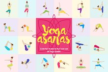 Yoga Asanas Flat Icons Set