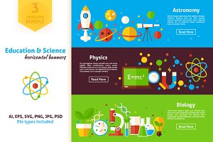 Education Science Horizontal Banners