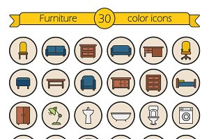 House furniture icons. Vector