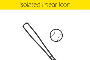 Baseball bat and ball icon. Vector