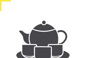 Tea set icon. Vector