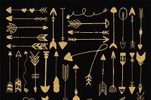 Gold glitter tribal arrows clip art