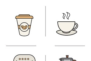 Coffee color icons. Vector